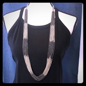 Multi strand pewter/silver necklace